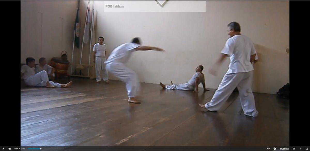 In der Kampf- und Bewegungskunst PGB Bangau Putih - ist Rhythmus bei Partnerübungen gut sichtbar, das Video dazu demonstriert die rhythmik